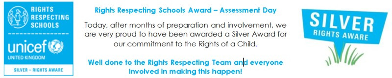 On Monday the 2nd Jully, after months of preparation and involvement, we are very proud to have been awarded a Silver Award for our commitment to the Rights of a Child.  Well done to the Rights Respecting Team and everyone involved in making this happen!